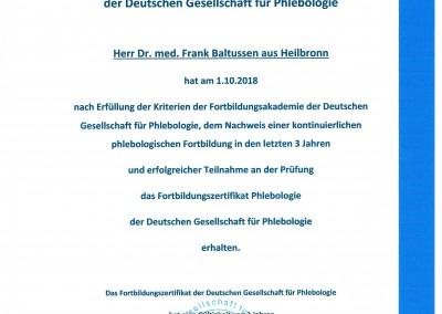 Fortbildungszertifikat Dr. med. Baltussen Phlebologie