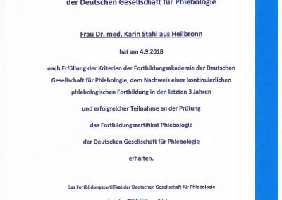 Fortbildungszertifikat Dr. med. Stahl Phlebologie