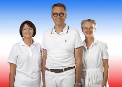 Unser Ärzteteam von li: Danuta Srodecki, Dr. med. Frank Baltussen, Dr. med. Karin Stahl